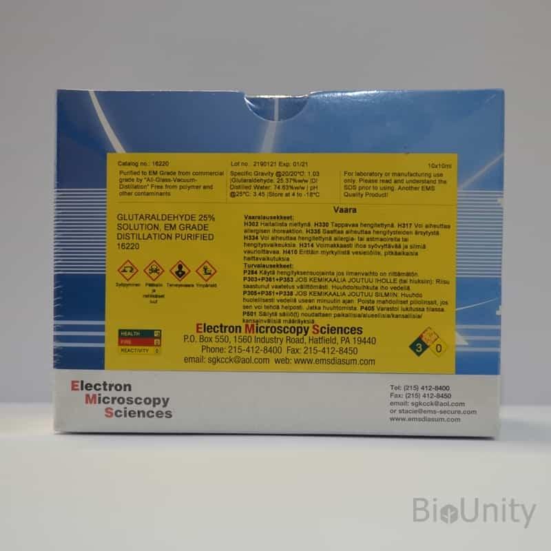 Glutaraldehyde, box 10 x 10 ml ampoules