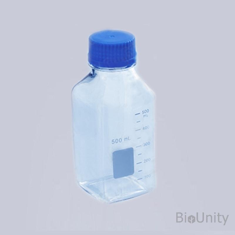 Бутылка 500 мл, с градуировкой, с завинчивающейся крышкой 45 мм, квадратная, автоклавируемая, поликарбонат
