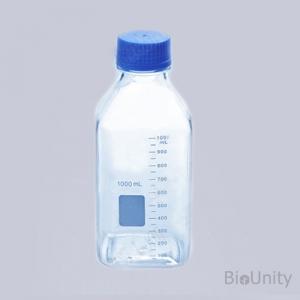 Бутылка 1000 мл, с градуировкой, с завинчивающейся крышкой 45 мм, квадратная, автоклавируемая, поликарбонат