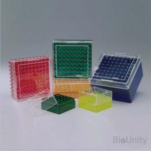 Криобокс для криопробирок 2 мл, 81 ячейка, красный, размер 132 х 132 х 53 мм,  поликарбонат